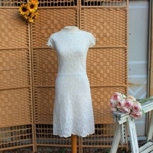 Vintage 1950s Knee Length White Lace Wedding Dress